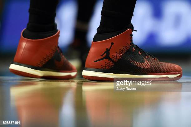 A detailed view of the Nike sneakers worn by Jimmy Butler of the Chicago Bulls during a game against the Milwaukee Bucks at the BMO Harris Bradley...