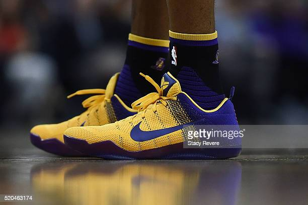 A detailed view of the Nike sneakers worn by Kobe Bryant of the Los Angeles Lakers during a game against the New Orleans Pelicans at the Smoothie...