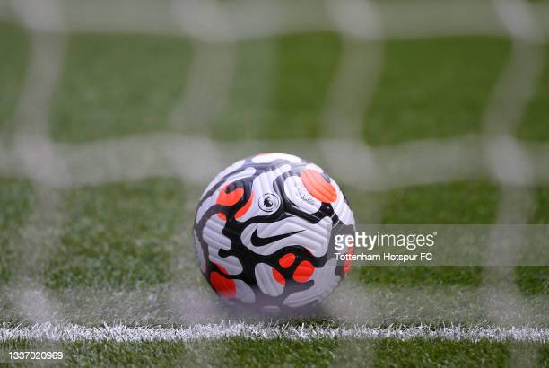 Detailed view of the Nike Strike Aerowsculpt Official Premier League match ball prior to the Premier League match between Tottenham Hotspur and...