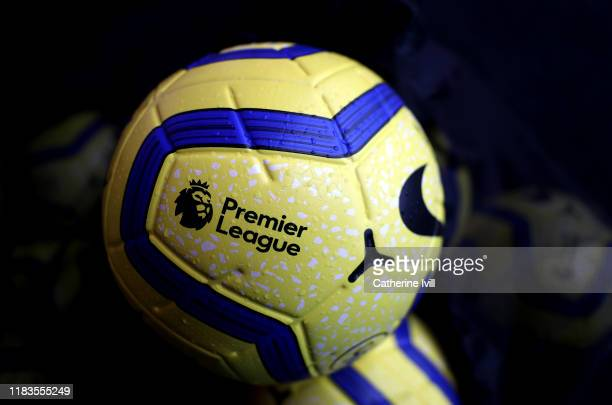 A detailed view of the Nike Winter Merlin Premier League match ball is seen prior to the Premier League match between Watford FC and AFC Bournemouth...