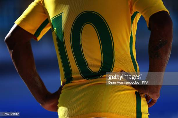 A detailed view of the number 10 shirt worn by Datinha of Brazil during the FIFA Beach Soccer World Cup Bahamas 2017 semi final match between Brazil...