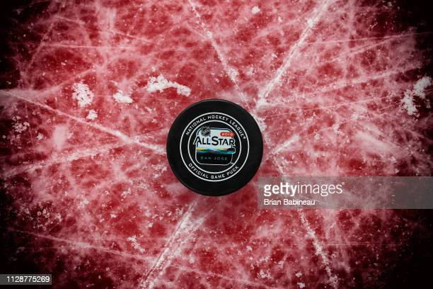 A detailed view of the offical game puck of the 2019 Honda NHL AllStar Game is seen during the 2019 Honda NHL AllStar Game at SAP Center on January...