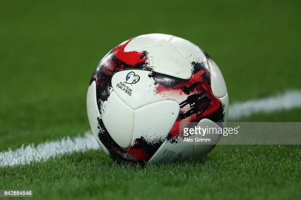A detailed view of the official adidas match ball during the FIFA World Cup Russia 2018 Group C Qualifier between Germany and Norway at MercedesBenz...