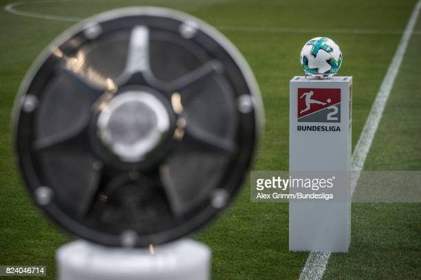 A detailed view of the official adidas matchball Torfabrik and the Championship trophy during the Second Bundesliga match between VfL Bochum 1848 and...