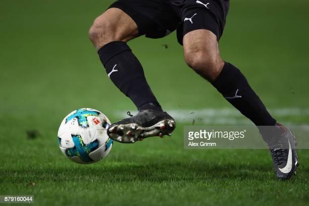 A detailed view of the official adidas matchball Torfabrik during the Second Bundesliga match between SV Sandhausen and 1 FC Heidenheim 1846 at...