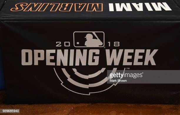 A detailed view of the official opening week logo during batting practice before Opening Day between the Miami Marlins and the Chicago Cubs at...