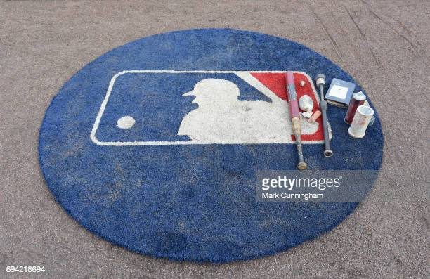 A detailed view of the ondeck circle during the game between the Cleveland Indians and the Detroit Tigers at Comerica Park on May 3 2017 in Detroit...