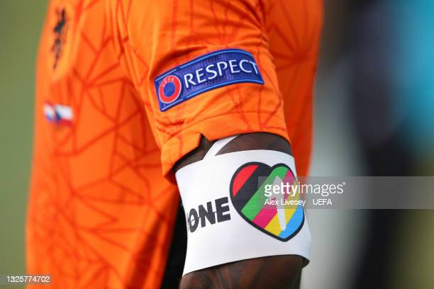 Detailed view of the 'ONE-LOVE' captains armband worn by Georginio Wijnaldum of Netherlands is seen during the UEFA Euro 2020 Championship Round of...