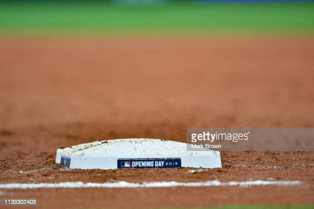 A detailed view of the Opening Day first base mound used in the game between the Miami Marlins and the Colorado Rockies during Opening Day at Marlins...