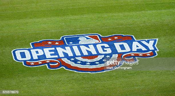 A detailed view of the Opening Day logo painted on the field prior to the Opening Day game between the Detroit Tigers and the New York Yankees at...