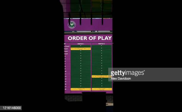 Detailed view of the Order of Play boards at The All England Tennis and Croquet Club, best known as the venue for the Wimbledon Tennis Championships,...