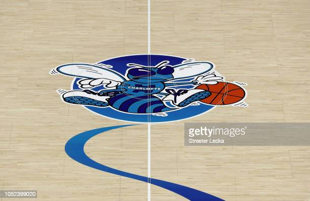 A detailed view of the original logo of the Charlotte Hornets on display on the court ahead of opening night against the Milwaukee Bucks at Spectrum...