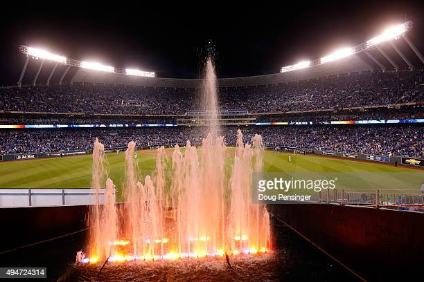 A detailed view of the outfield prior to Game Two of the 2015 World Series between the New York Mets and the Kansas City Royals at Kauffman Stadium...