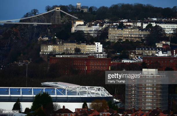 Detailed view of the outside of Ashton Gate with the Clifton Suspension Bridge in the Background during the Sky Bet Championship match between...