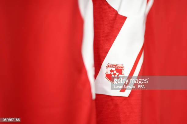 A detailed view of the Panama badge is seen on a shirt number inside the Panama dressing room prior to the 2018 FIFA World Cup Russia group G match...