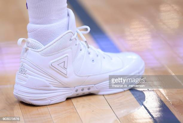 A detailed view of the Peak Basketball shoes worn by George Hill of the Sacramento Kings against the Charlotte Hornets during an NBA basketball game...