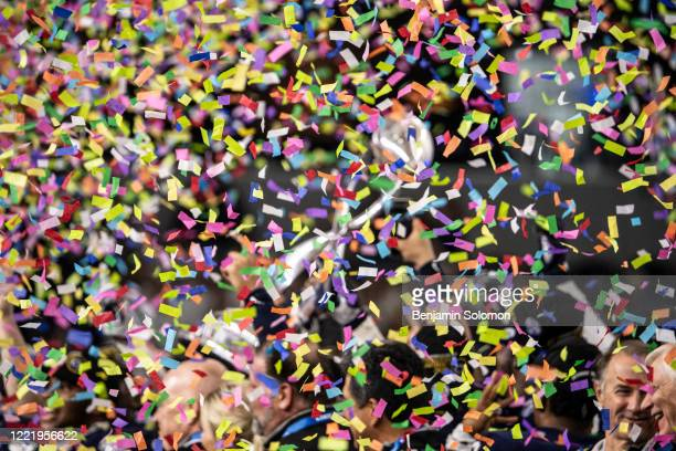 A detailed view of the Penn State Nittany Lions through confetti after winning the Goodyear Cotton Bowl Classic at ATT Stadium on December 28 2019 in...