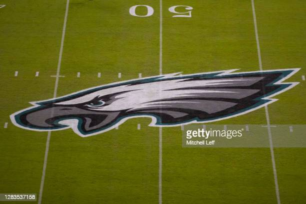 Detailed view of the Philadelphia Eagles logo at midfield prior to the game against the Dallas Cowboys at Lincoln Financial Field on November 1, 2020...