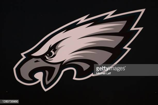 Detailed view of the Philadelphia Eagles logo prior to the game against the Dallas Cowboys at Lincoln Financial Field on November 1, 2020 in...