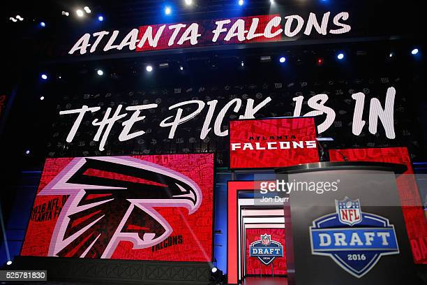A detailed view of the pick is in for the overall pick by the Atlanta Falcons during the first round of the 2016 NFL Draft at the Auditorium Theatre...