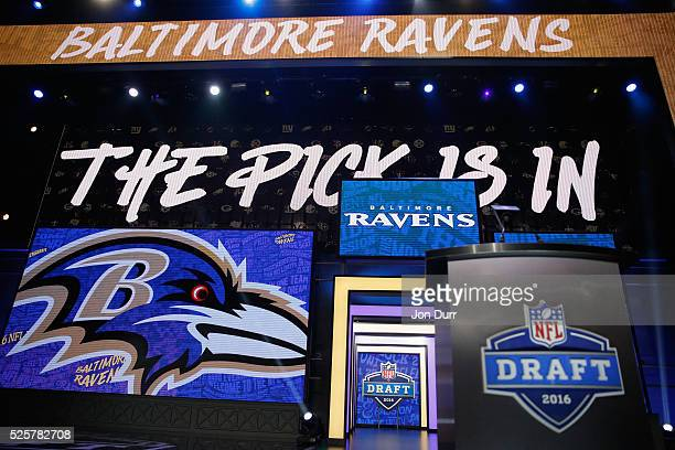 A detailed view of the pick is in for the overall pick by the Baltimore Ravens during the first round of the 2016 NFL Draft at the Auditorium Theatre...