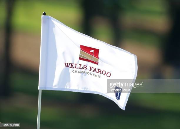 Detailed view of the pin ahead of the Pro-Am for the Wells Fargo Championship at Quail Hollow Club on May 2, 2018 in Charlotte, North Carolina.