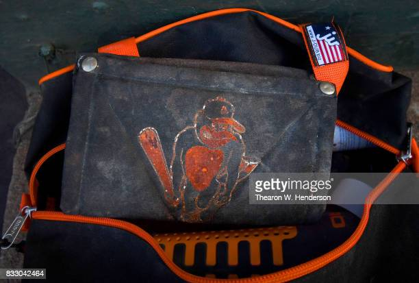 A detailed view of the pine tar rag belonging to the Baltimore Orioles prior to the game against the Oakland Athletics at Oakland Alameda Coliseum on...