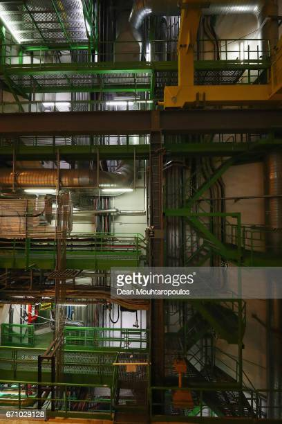 A detailed view of the piping and equipment which is part of the ALICE cavern and detector during a behind the scenes tour at CERN the World's...