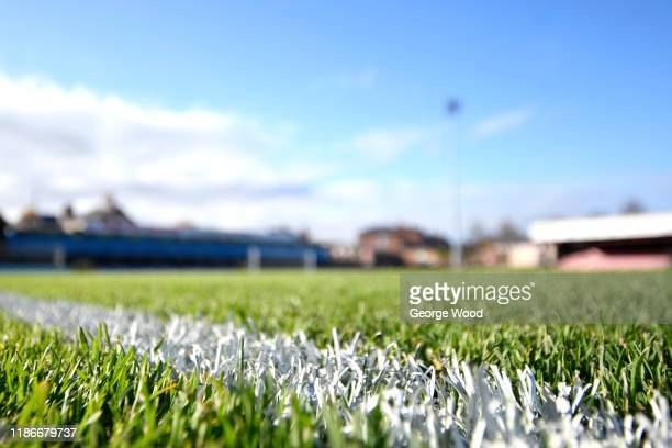 A detailed view of the pitch ahead of the FA Cup First Round match between York City and Altrincham at Bootham Crescent on November 10 2019 in York...