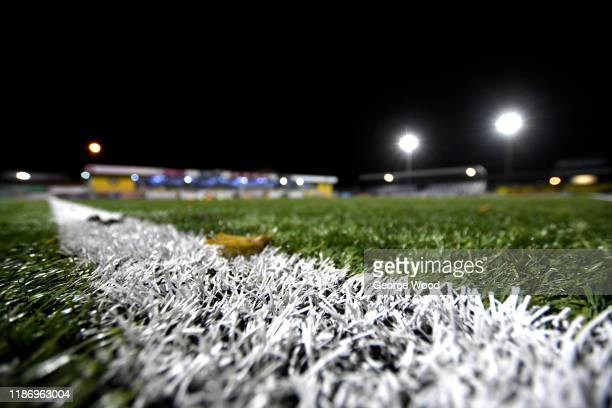 Detailed view of the pitch ahead of the FA Cup First Round match between Harrogate Town A.F.C and Portsmouth FC at CNG Stadium on November 11, 2019...