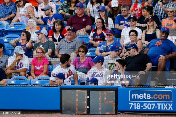 A detailed view of the pitch clock during the Grapefruit League spring training game between the New York Mets and the Atlanta Braves at First Data...