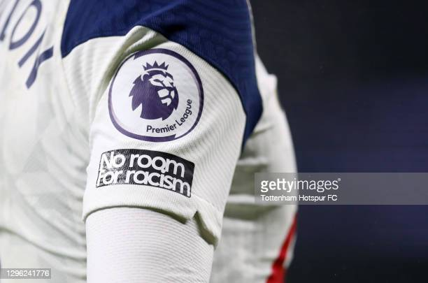 Detailed view of the Premier League and No Room for Racism badge on a players shirt during the Premier League match between Tottenham Hotspur and...