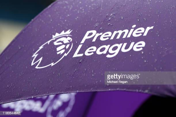 A detailed view of the Premier League logo is seen on an umbrella prior to the Premier League match between Manchester City and Aston Villa at Etihad...