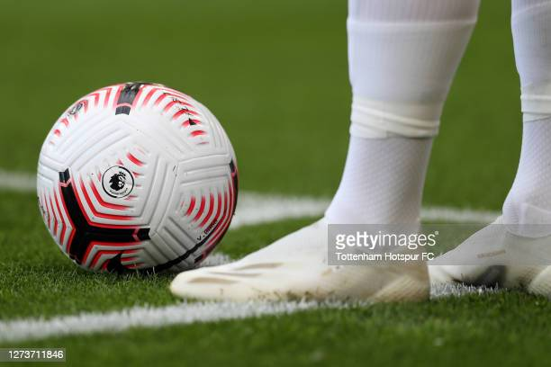 Detailed view of the Premier League logo on the Nike ball at the feet of Son Heung-Min of Tottenham Hotspur during the Premier League match between...