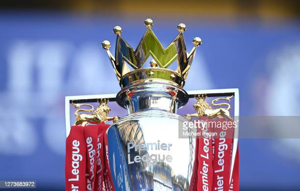 Detailed view of the Premier League trophy is seen prior to the Premier League match between Chelsea and Liverpool at Stamford Bridge on September...