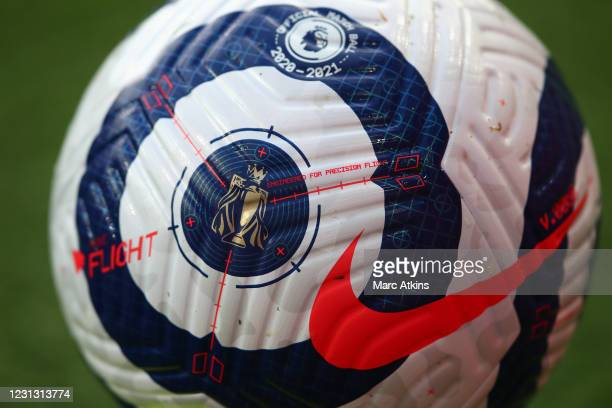 Detailed view of the Premier League trophy on the new Nike Flight Premier League ball during the Premier League match between Arsenal and Manchester...