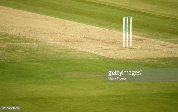 Detailed view of the Prostate Cancer branded stumps during Day Four of the Bob Willis Trophy Final match between Somerset and Essex at Lord's Cricket...