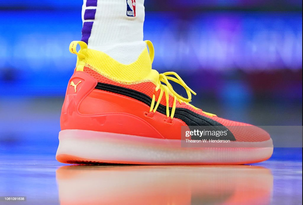 1c9c4640071 A detailed view of the Puma basketball shoes worn by Marvin Bagley ...