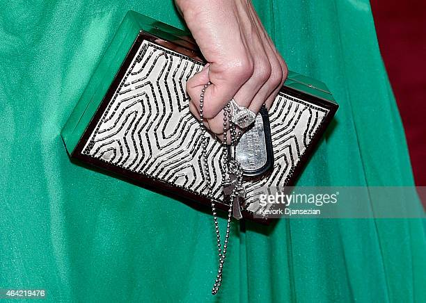 A detailed view of the purse of Taya Kyle attends the 87th Annual Academy Awards at Hollywood Highland Center on February 22 2015 in Hollywood...