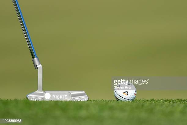 Detailed view of the putter and golf ball of Rickie Fowler on the second green during the third round of the Waste Management Phoenix Open at TPC...