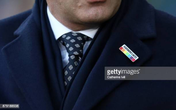 Detailed view of the rainbow laces pin badge during the Premier League match between Swansea City and AFC Bournemouth at Liberty Stadium on November...