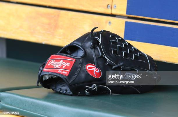A detailed view of the Rawlings baseball glove used by Justin Verlander of the Detroit Tigers sitting in the dugout during the game against the...