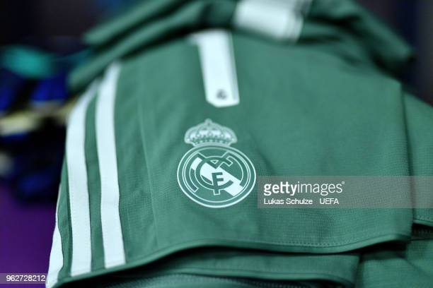 A detailed view of the Real Madrid logo on a pair of shorts in the changing room prior to the UEFA Champions League Final between Real Madrid and...