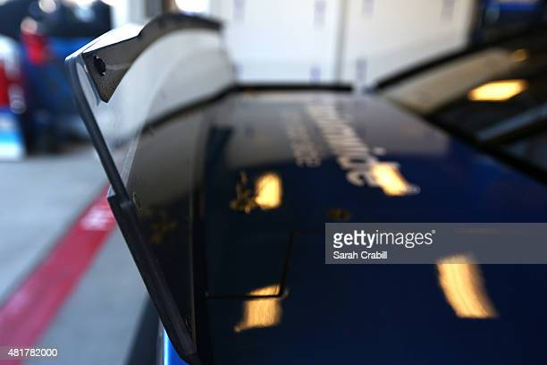 A detailed view of the rear spoiler being used during practice for the NASCAR Sprint Cup Series Crown Royal Presents the Jeff Kyle 400 at the...