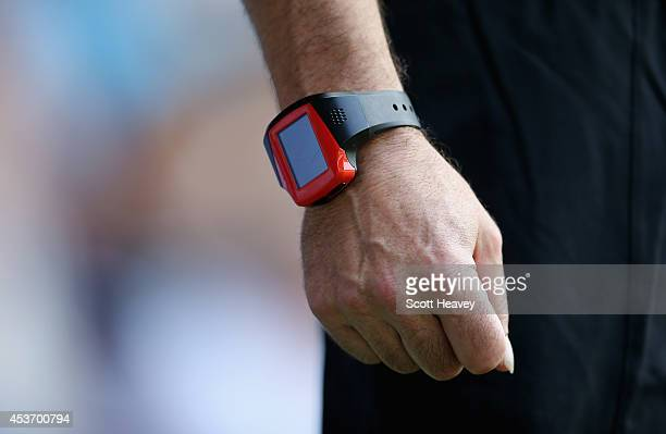 A detailed view of the referee's goal line watch during the Barclays Premier League match between Queens Park Rangers and Hull City at Loftus Road on...