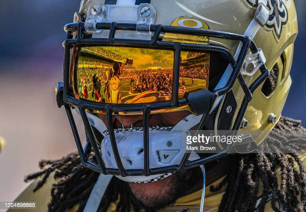 A detailed view of the reflection on the Oakley visor of Alvin Kamara of the New Orleans Saints during the 2020 NFL Pro Bowl at Camping World Stadium...