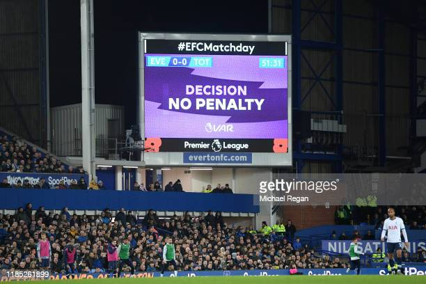 Detailed view of the result of the VAR check during the Premier League match between Everton FC and Tottenham Hotspur at Goodison Park on November...