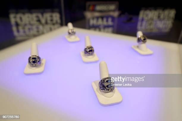 A detailed view of the rings for the Hall of Fame inductees before the NASCAR Hall of Fame Induction Ceremony at Charlotte Convention Center on...