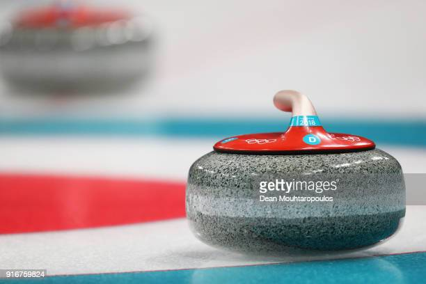 A detailed view of the rock or stone during the Curling Mixed Doubles on day two of the PyeongChang 2018 Winter Olympic Games at Gangneung Curling...