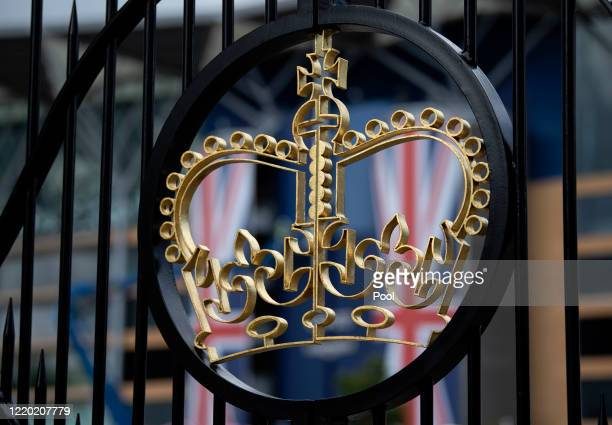 Detailed view of the Royal Crown crest on the main gates at Ascot Racecourse on June 14, 2020 in Ascot, England.